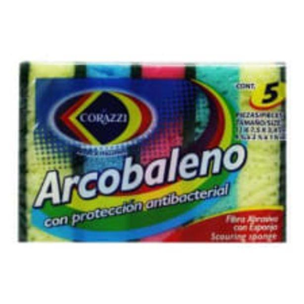 Oferta de Fibra abrasiva con esponja Corazzi arcobaleno 1 paquete con 5 pzas por $40.5