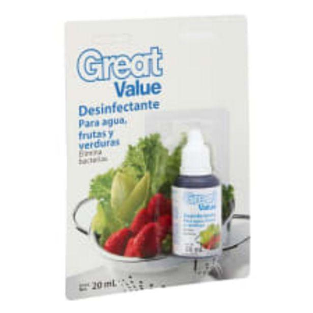 Oferta de Desinfectante Great Value para agua frutas y verduras en gotas 20 ml por $14.5