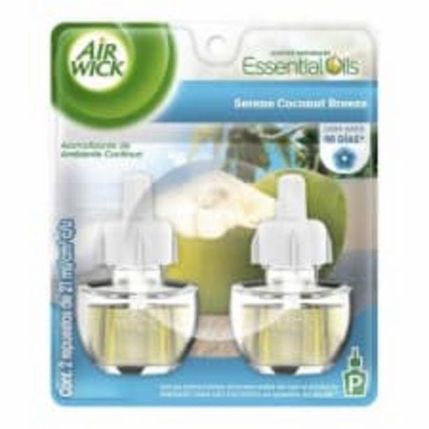 Oferta de Repuesto de aromatizante ambiental Air Wick serene coconut breeze 2 pzas de 21 ml c/u por $130