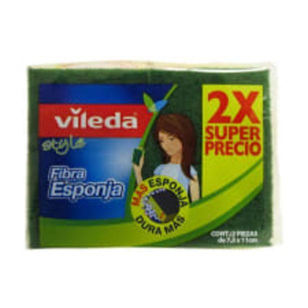 Oferta de Fibra esponja Vileda style 2 pzas de 7.5 x 11 cm por $29