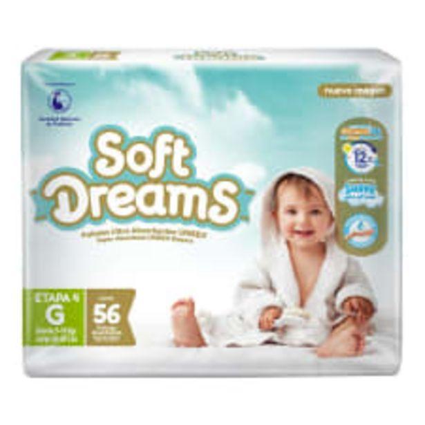 Oferta de Pañales Soft Dreams etapa 4 grande unisex 56 pzas por $205