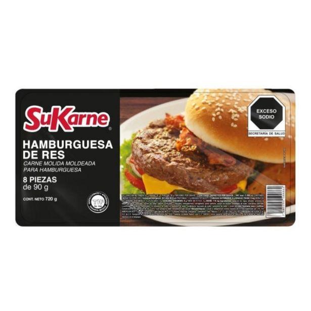 Oferta de Carne de res para hamburguesa SuKarne 8 pzas de 90 g c/u por $65