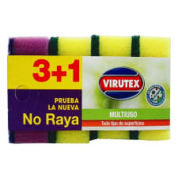 Oferta de Esponja Virutex multiuso no raya 4 pzas por $23