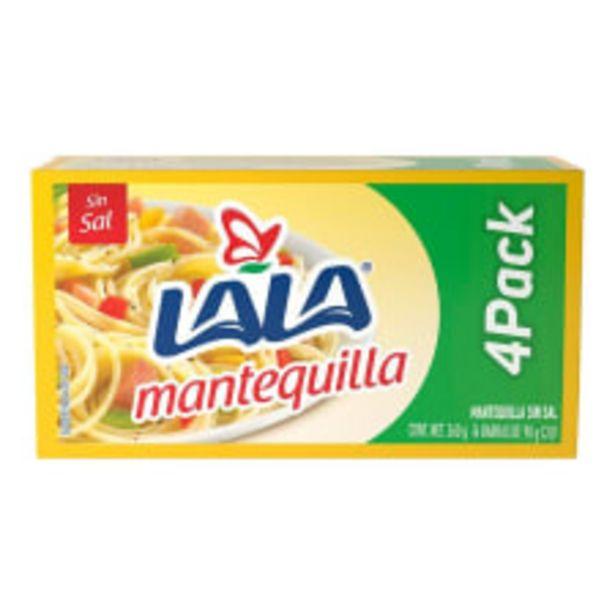 Oferta de Mantequilla sin sal Lala 4 barras de 90 g c/u por $59