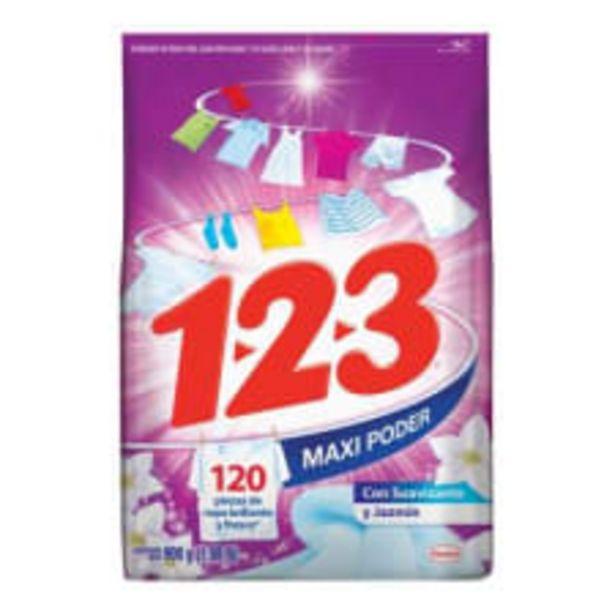 Oferta de Detergente en polvo 1 2 3 maxi poder con suavizante y jazmín 900 g por $17.9