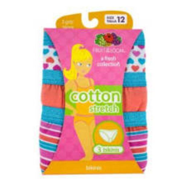 Oferta de Bikini Fruit of the Loom Talla 12 Cotton Stretch Multicolor 3 Piezas por $129