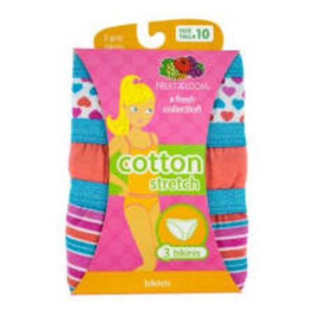 Oferta de Bikini Fruit of the Loom Talla 10 Cotton Stretch Multicolor 3 Piezas por $129