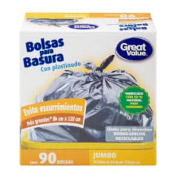 Oferta de Bolsas para basura Great Value jumbo con plastinudo 90 pzas por $159