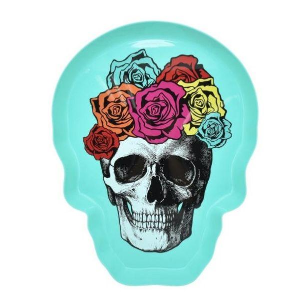 Oferta de Charola Mainstays Forma de Cráneo Día de Muertos Menta por $29.9