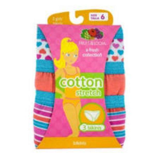 Oferta de Bikini Fruit of the Loom Talla 6 Cotton Stretch Multicolor 3 Piezas por $129