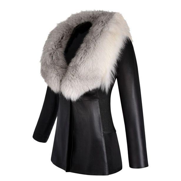 Oferta de Saco de piel con cuello de pelo de zorro por $21836