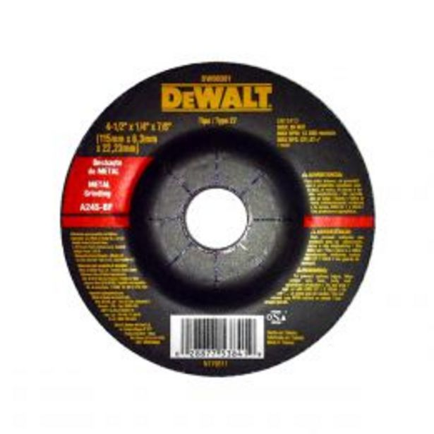 Oferta de Dewalt Disco Abrasivo De Devaste 4 1/2 X 1/4 X 7/8 Pulg Tipo 27 por $37