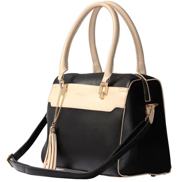 Oferta de Bolsa Satchel Bolso de Mano Mujer Dama Moda Negro por $589