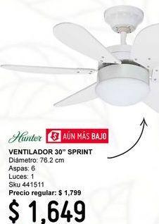 "Oferta de Ventilador 30"" Sprint 6 Aspas Blanco por $1649"
