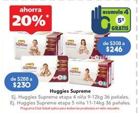 Oferta de Pañales Huggies Supreme etapa 4 niña 9-12 kg 36 pañales por
