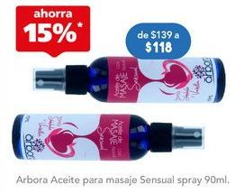 Oferta de Aceite Arbora aceite para masaje sensual spray 90 ml por
