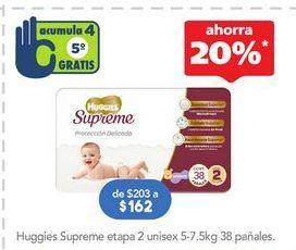 Oferta de Pañales Huggies Supreme etapa 2 unisex 5-7.5 Kg 38 pañales por