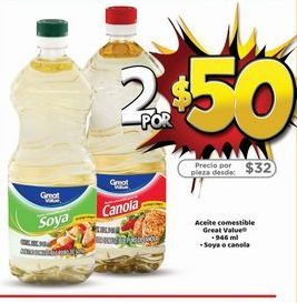 Oferta de 2x aceite vegetal Great Value por $50