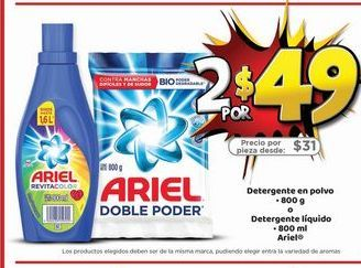 Oferta de Detergente en polvo Ariel por $49