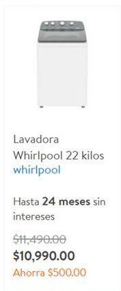 Oferta de Lavadoras Whirlpool por $10990