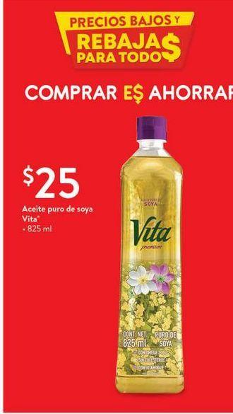 Oferta de Aceite puro de soya Vita por $25