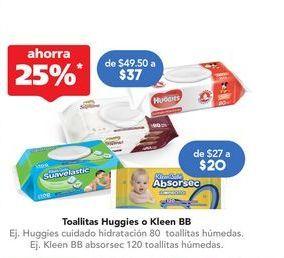 Oferta de Toallitas húmedas para bebé Huggies cuidado hidratación 80 toallitas húmedas por