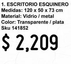 Oferta de Escritorio esquinero de vidrio por $2209