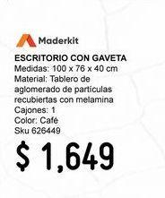 Oferta de Escritorio con Gaveta Color Rovere por $1649