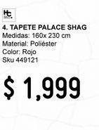 Oferta de Tapete Palace Shag Rojo 160x230cm por $1999