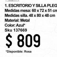 Oferta de Escritorio y Silla metálicos Azul por $809