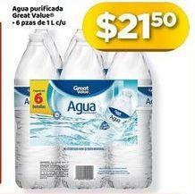 Oferta de 6x Agua Great Value por $21.5