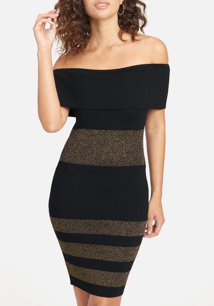 Oferta de Striped Off Shoulder Dress por $44.99