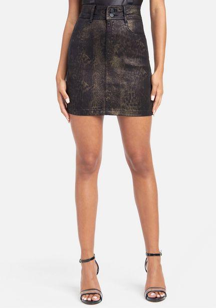 Oferta de Snakeskin Printed Jean Skirt por $26.99