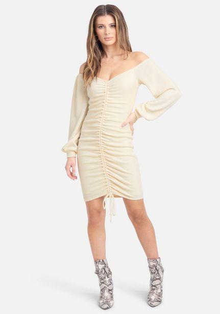 Oferta de Off Shoulder Ruched Front Mini Dress por $54.99