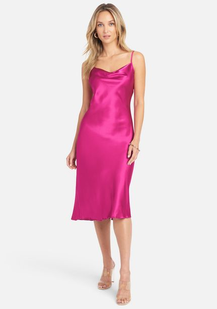 Oferta de Satin Cowl Neck Slip Midi Dress por $69