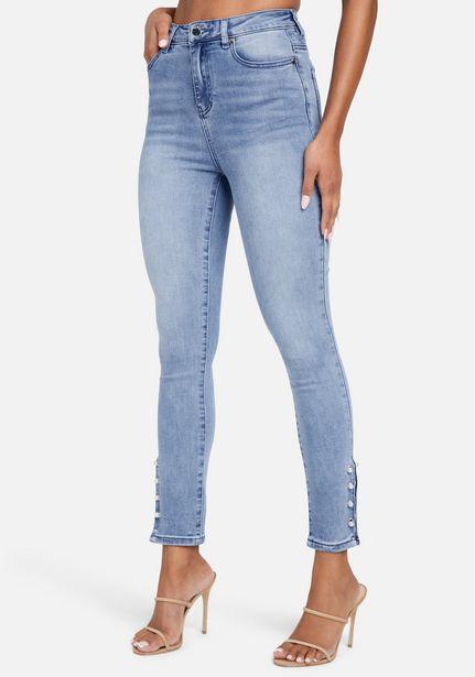 Oferta de High Waist Skinny Pearl Detail Ankle Jean por $119