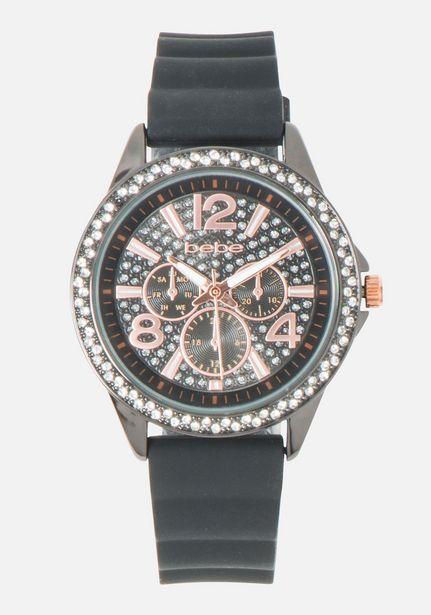 Oferta de Black & Crystal Dial Silicone Strap Watch por $59.99