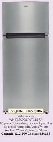 Oferta de Refrigerador Whirlpool Top Mount 18 Pies Gris WT1818A por $12699