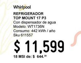Oferta de Refrigerador Top Mount WT1736N 17P3 por $11.6