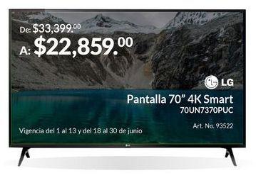 "Oferta de Pantalla 70"" 4K Smart por $22859"