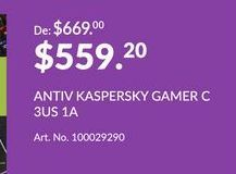 Oferta de Antivirus Kaspersky Gamer C por $559.2