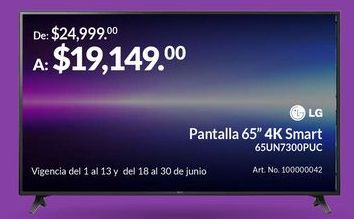 "Oferta de Pantalla 65"" 4K Smart por $19149"