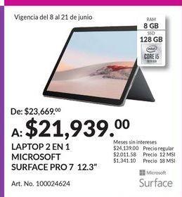 Oferta de Laptop 2 en 1 Microsoft Surface Pro 7 por $21939