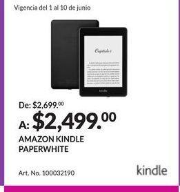Oferta de AMAZON KINDLE PAPERWHITE por $2499
