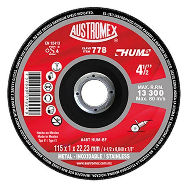 Oferta de Disco Plano 4.5 X1mm Corte Ac. Inox Y Metal Austromex 778 por $8.43