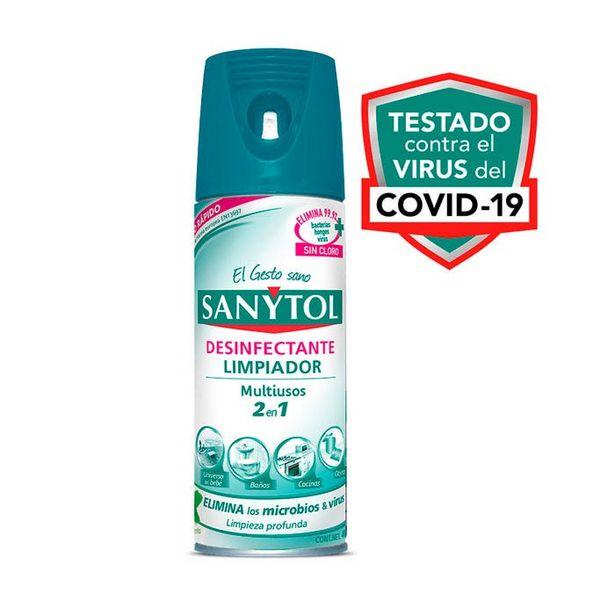 Oferta de Desinfectante Y Limpiador Elimina Bacterias En Aerosol 2en1 400 Ml 1212 Sanytol por $70.78
