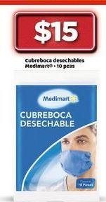Oferta de Cubreboca desechables Medimart por $15