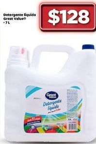 Oferta de Detergente líquido Great Value por $128