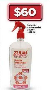 Oferta de Solucion antibacterial en spray Zuum por $60