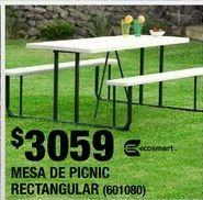 Oferta de MESA DE PICNIC RECTANGULAR PLEGABLE 182 X 144 CM GRIS ESTRUCTURA ACERO Y RESINA por $3059